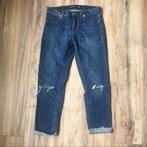 Express Girlfriend Denim  Distressed Jeans 2 Blue